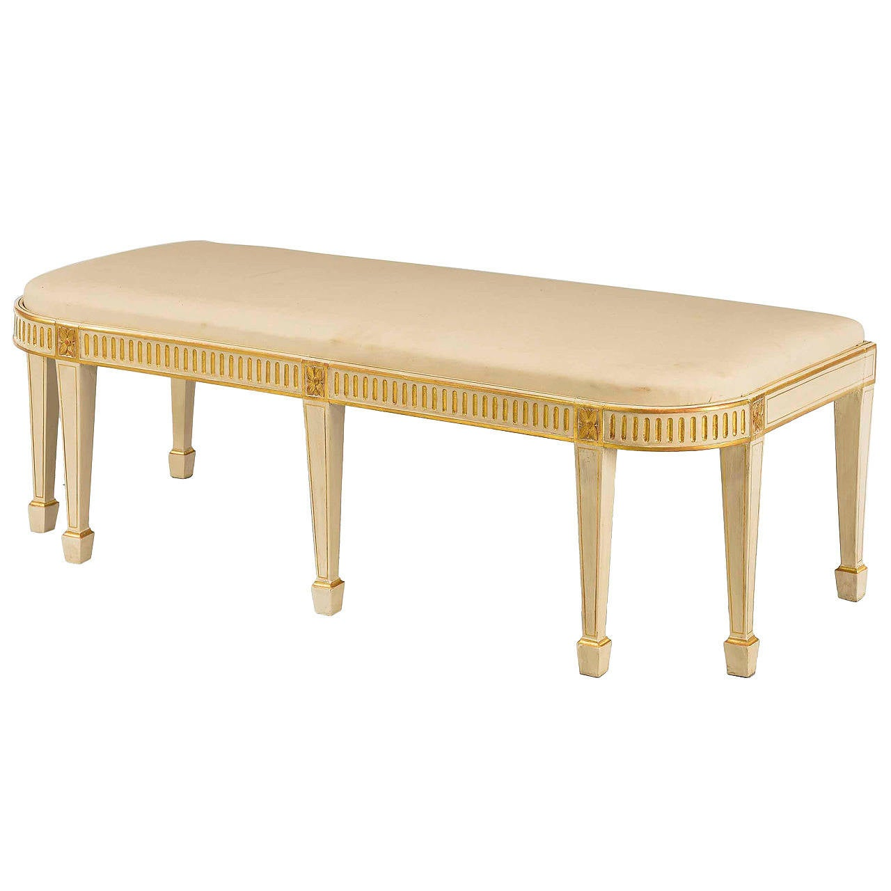 George III Period Parcel Gilt Window Seat For Sale at 1stdibs