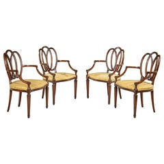 Set of Four Hepplewhite Style Elbow Chairs