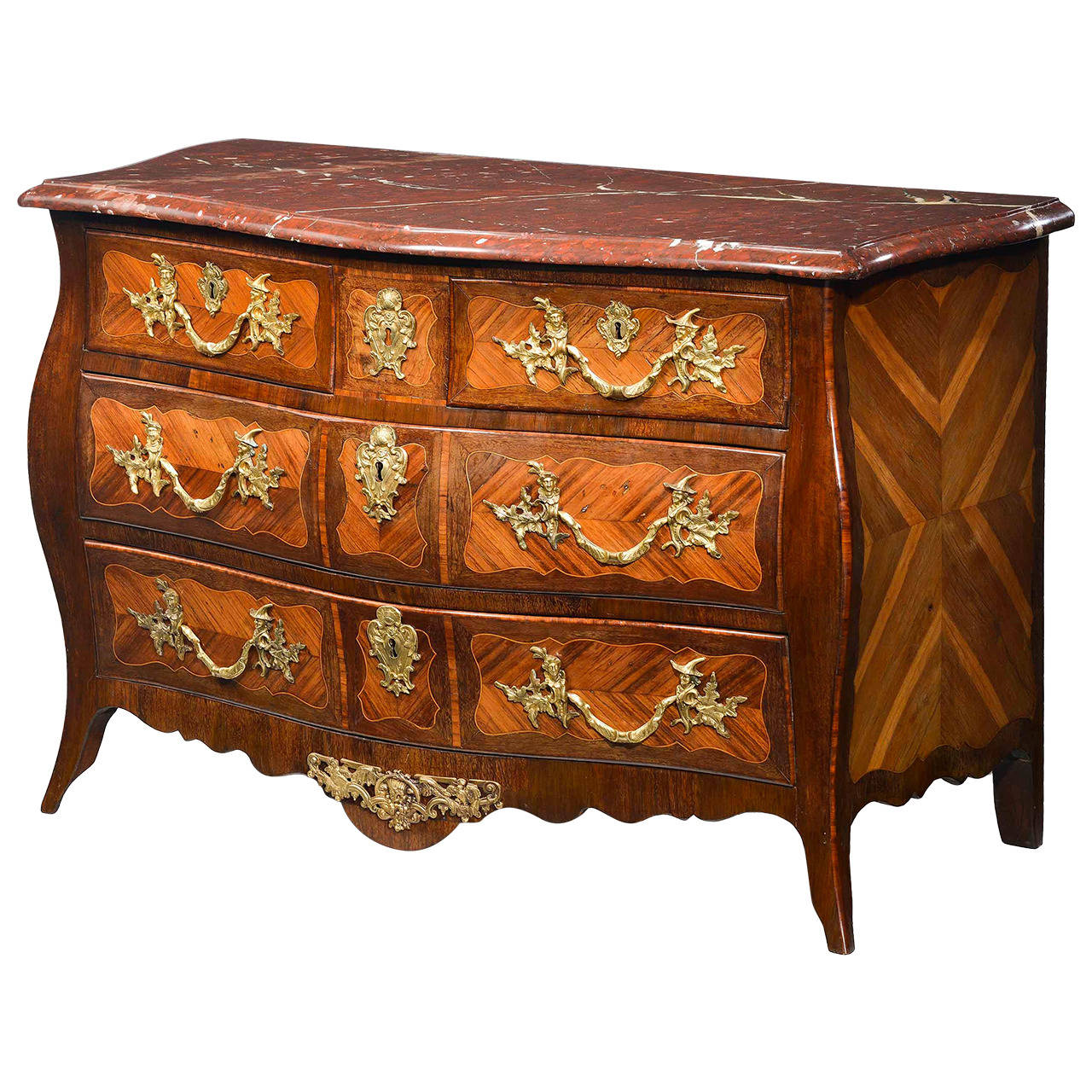good louis xv kingwood and rosewood parquetry commode for. Black Bedroom Furniture Sets. Home Design Ideas