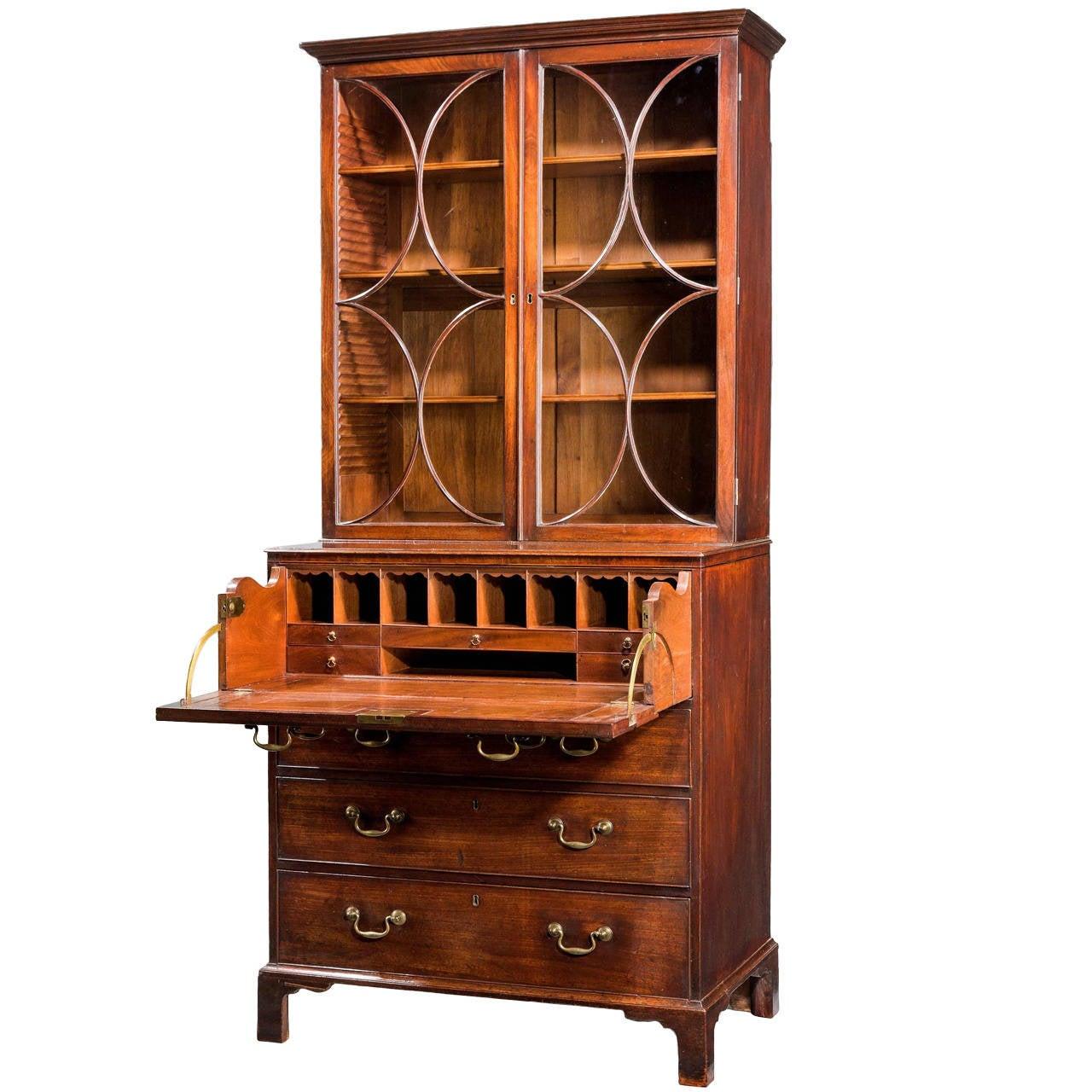 Chippendale Period Secretaire Bookcase