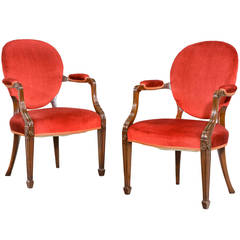Pair of George III Design Elbow Chairs