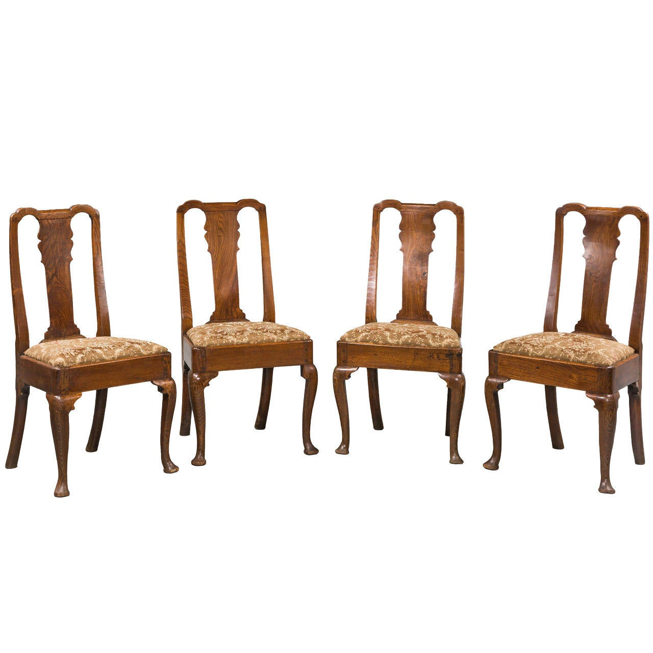 Set of Four George I Period Elm Chairs For Sale