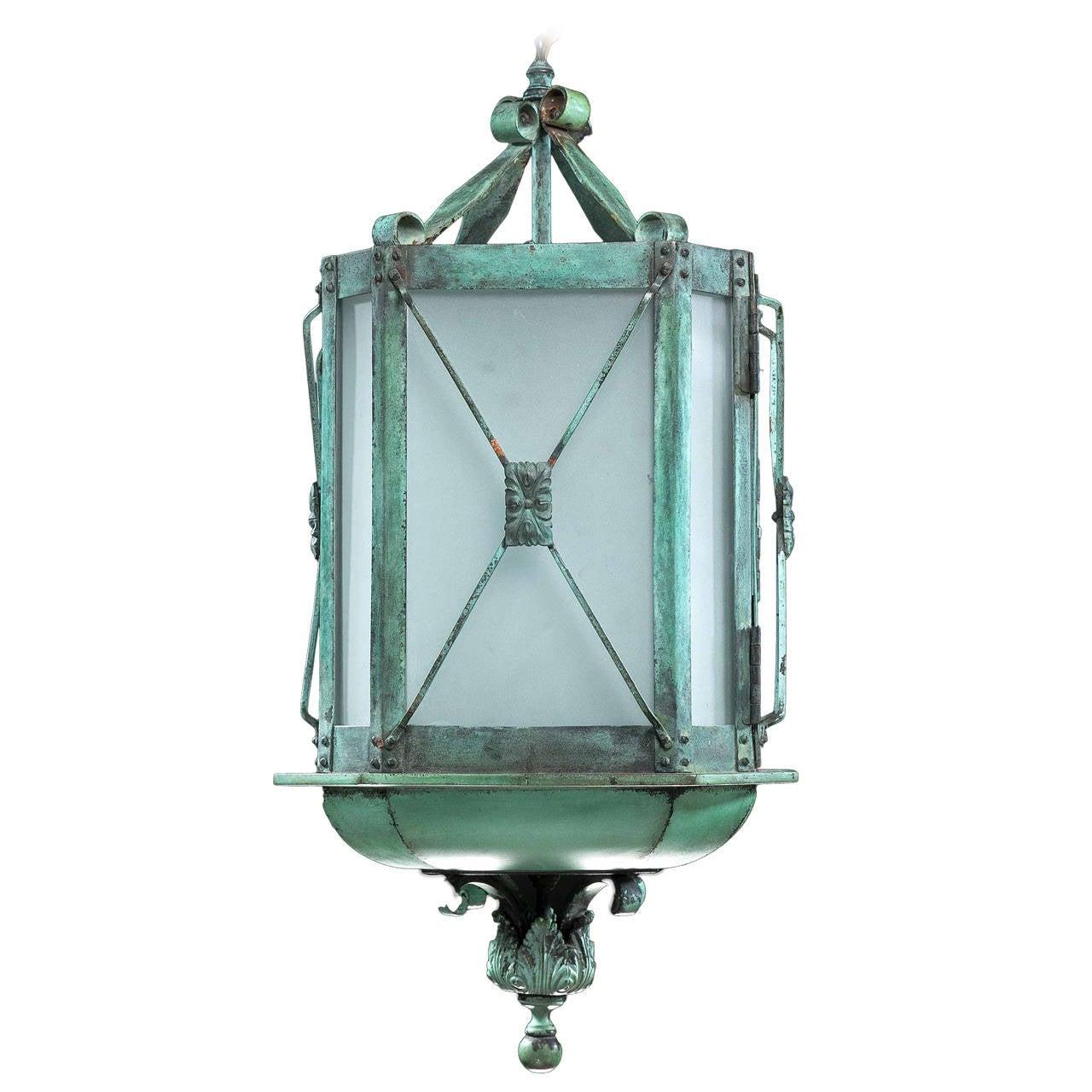 Late 19th Century Bronze Hall Lantern