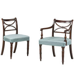 Set of Twelve George III Style Mahogany Framed Dining Chairs