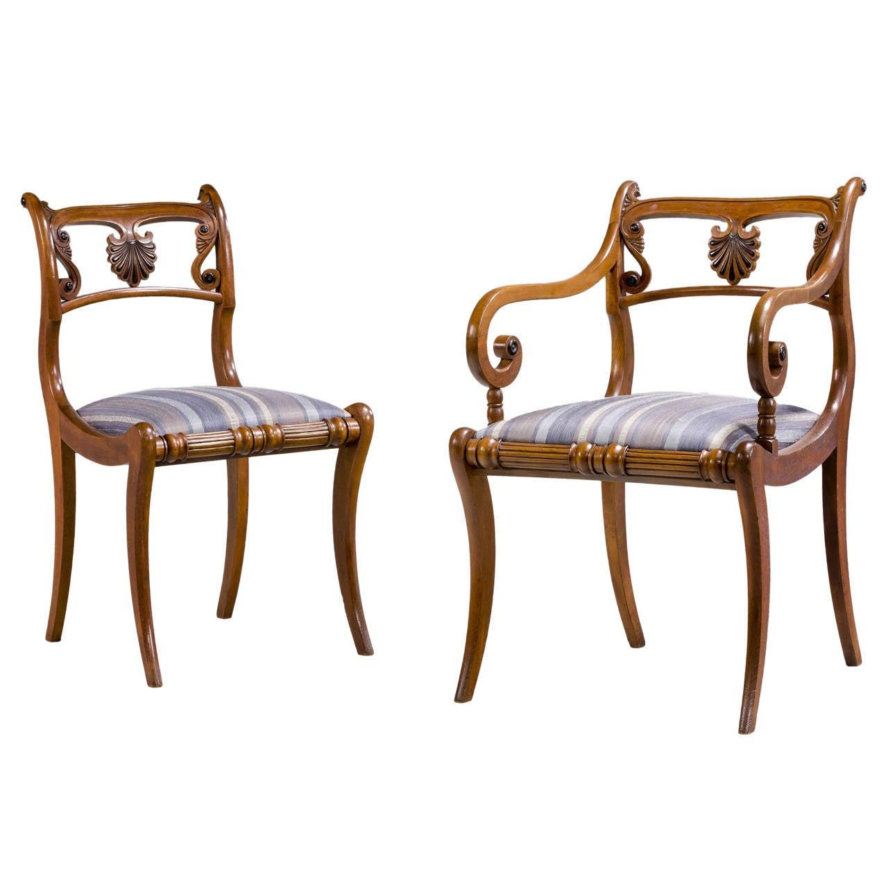 Set of Ten Regency Period Dining Chairs