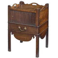 Chippendale Period Mahogany Tambour Fronted Night Cupboard
