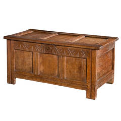 Early 18th Century Oak Three-Panel Coffer