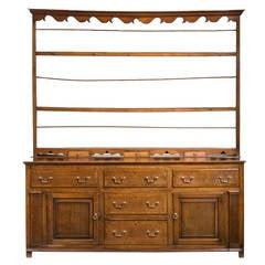 George III Period Oak Dresser and Rack