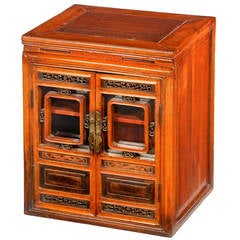 Late 19th Century Carved Elm Cabinet