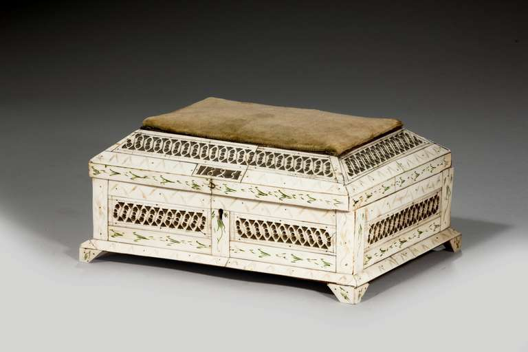 19th century Russian bone casket, with pierced decoration and a fabric inset top. Dated 1825.