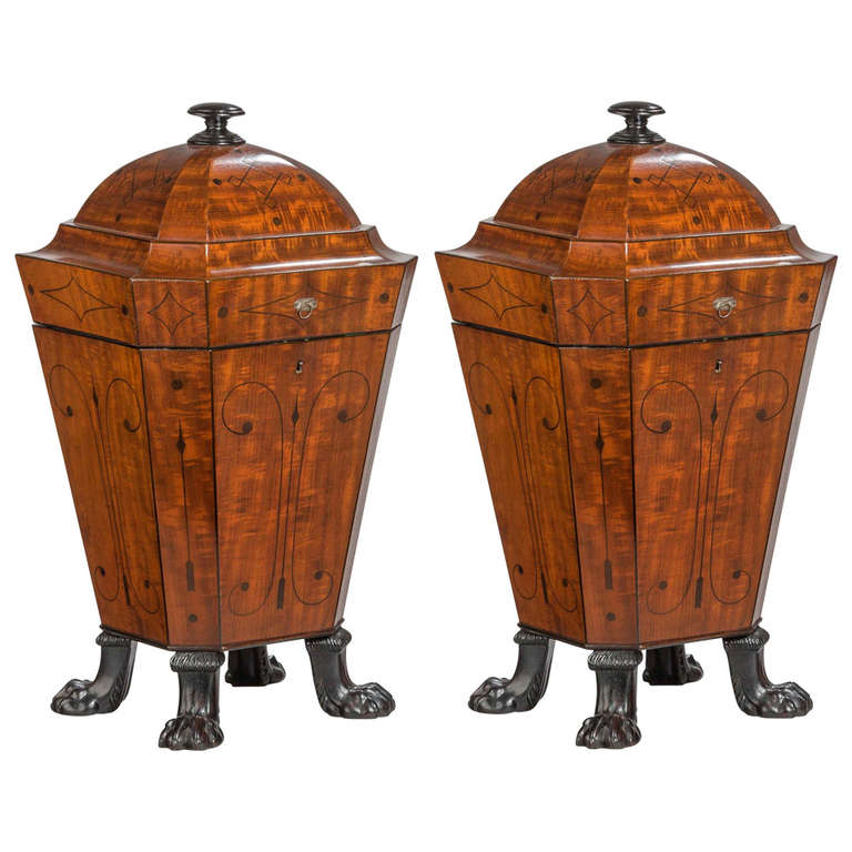 Pair of Regency Period Mahogany Knife Boxes