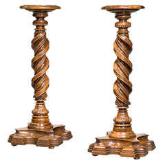 Pair of Early 17th Century Italian Solomonic Walnut Torcheres
