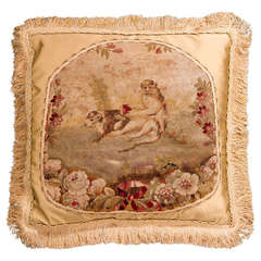 Cushion: 18th Century, Wool. Featuring a Scene from Aesop's Fables