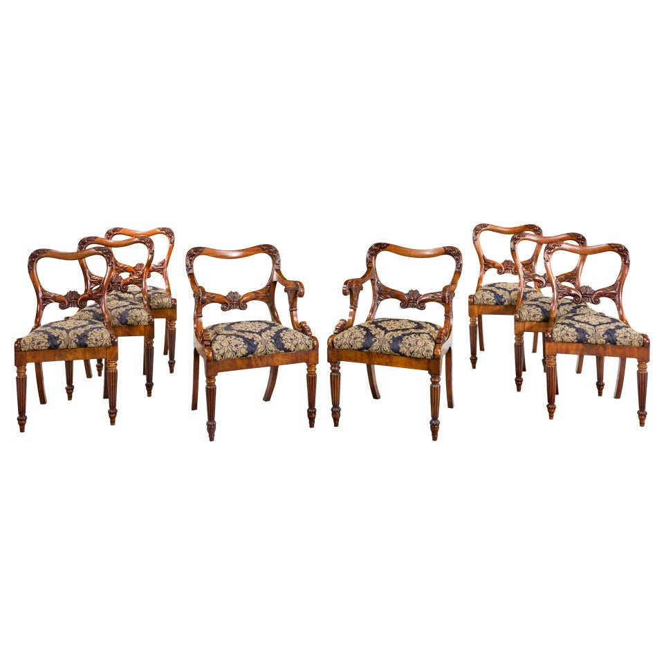 Set of Eight Regency Period Dining Chairs