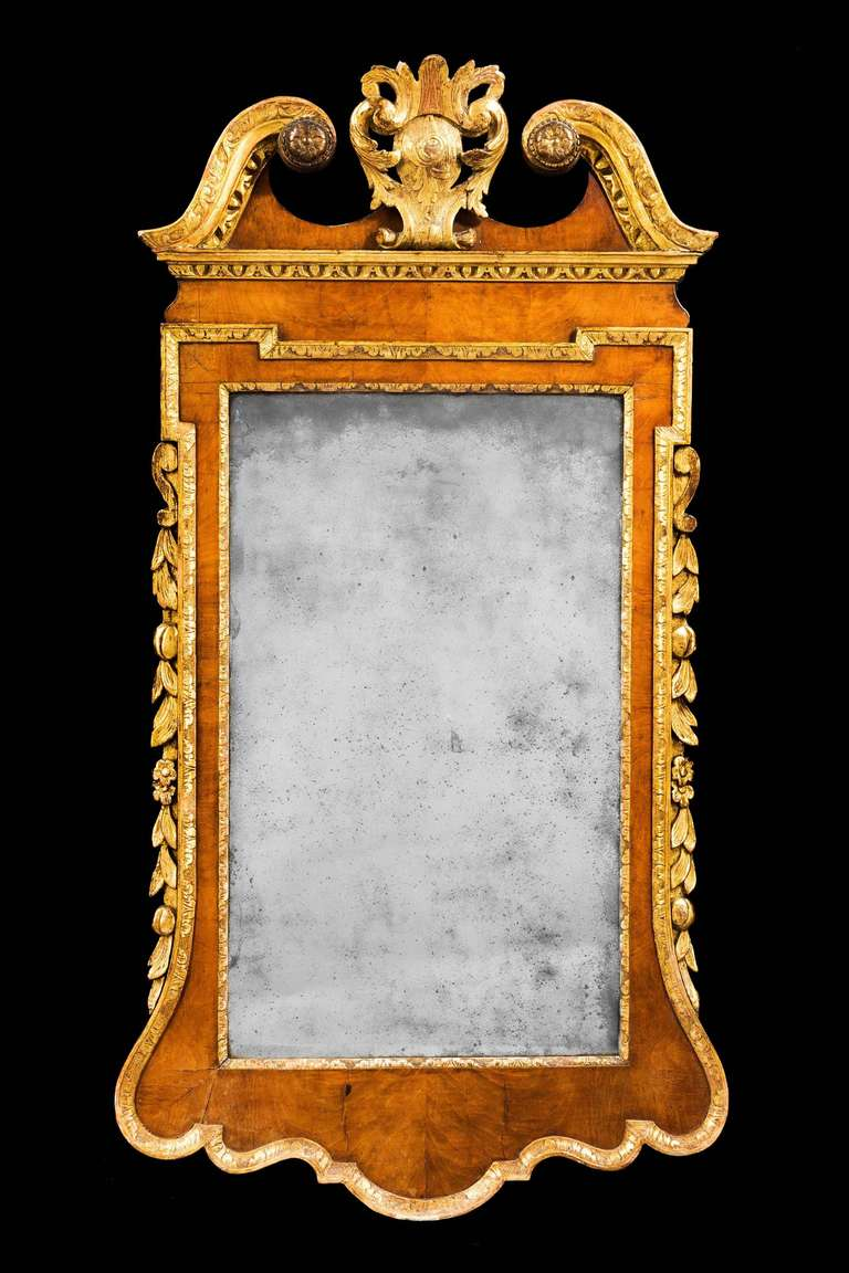 George ii period parcel gilt and walnut mirror at 1stdibs for What is a gilt mirror