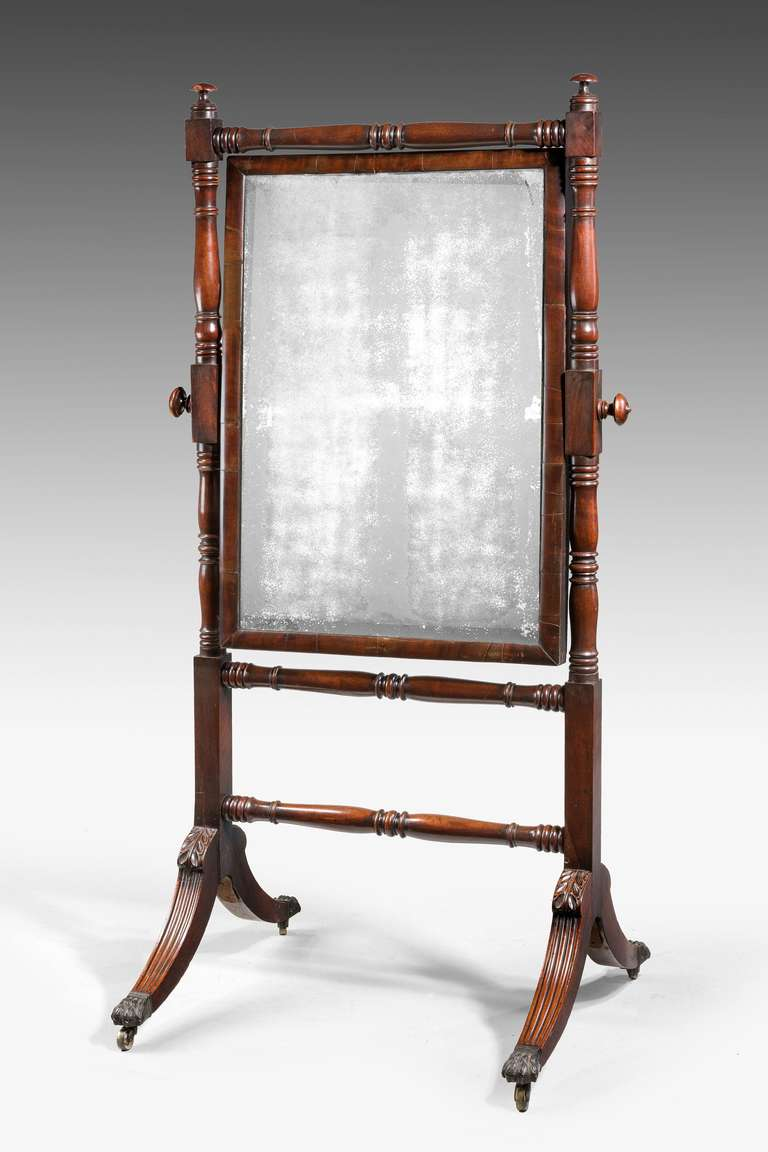 Regency Period Mahogany Cheval Mirror 2