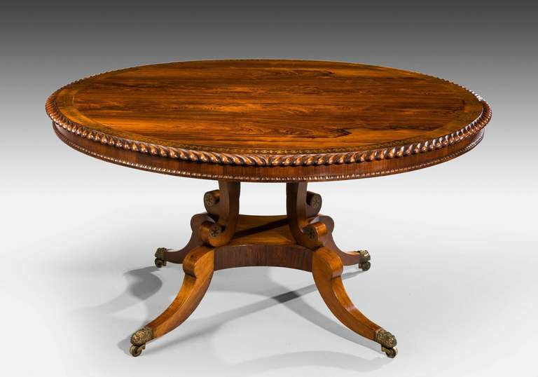 Regency Period Rosewood Circular Dining Table For Sale at  : 6090114Aug13l from www.1stdibs.com size 768 x 538 jpeg 31kB