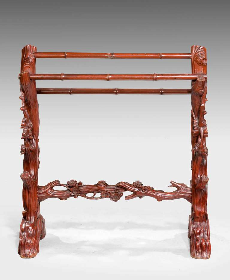 19th Century Carved Towel Rail For Sale 2