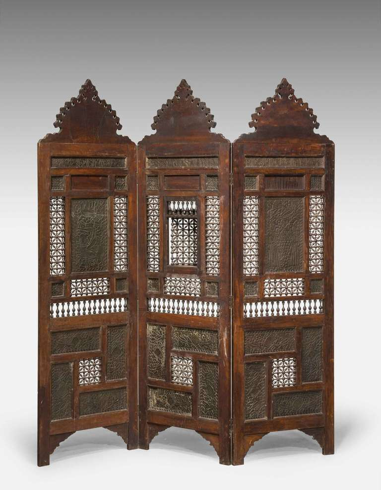 British 19th Century Middle Eastern Three-Fold Screen For Sale