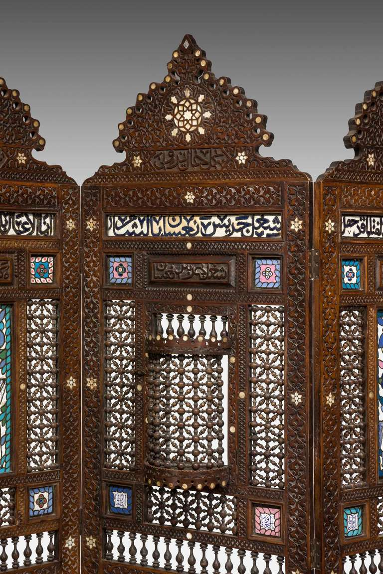 19th Century Middle Eastern Three-Fold Screen In Good Condition For Sale In Peterborough, Northamptonshire