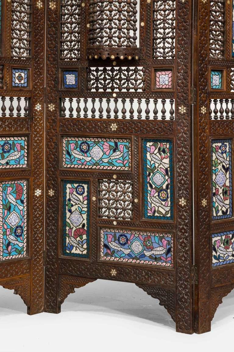 Enamel 19th Century Middle Eastern Three-Fold Screen For Sale