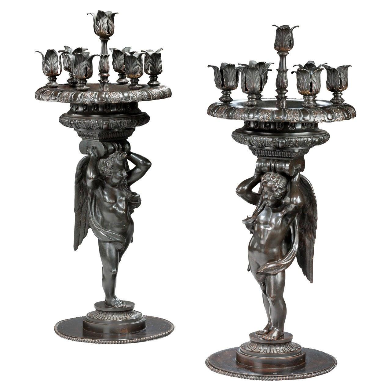 Pair of Italian Bronze Candelabra