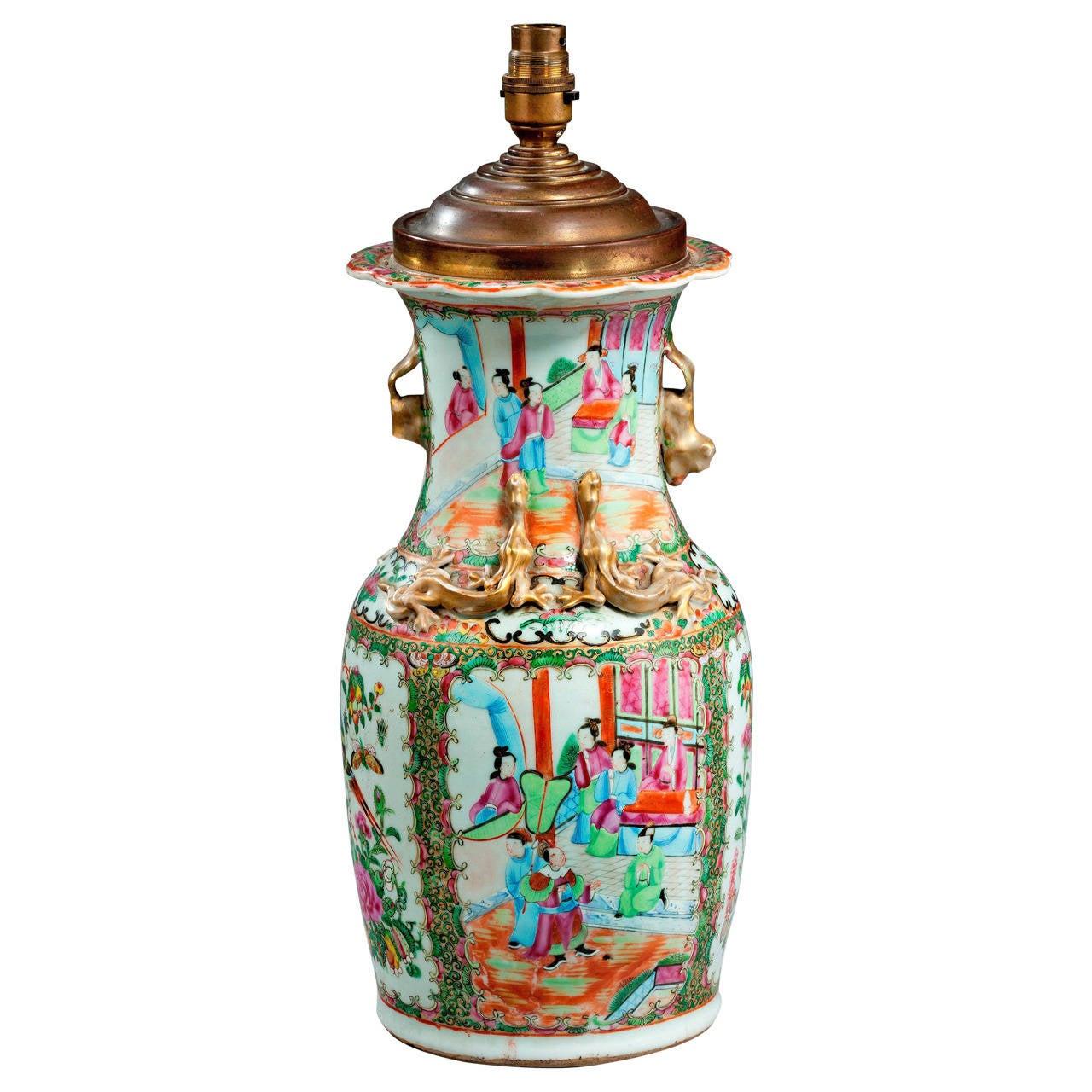 19th Century Canton Vase Lamp