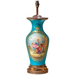 Late 19th Century Sèvres Style Porcelain Vase Lamp