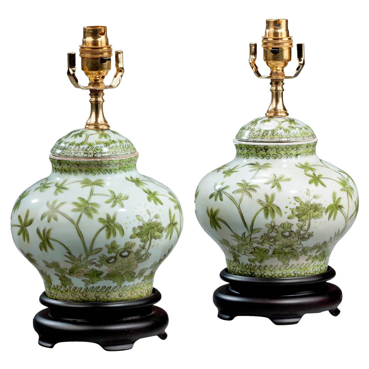 Pair Of 20th Century Clobbered Porcelain Vase Lamps At 1stdibs