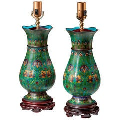 Pair of Cloisonne Ovoid Lamps