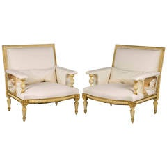 Pair of 20th Century Parcel-Gilt Chairs