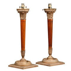 Pair of mid 20th century Mahogany and Gilt Bronze Column Lamps