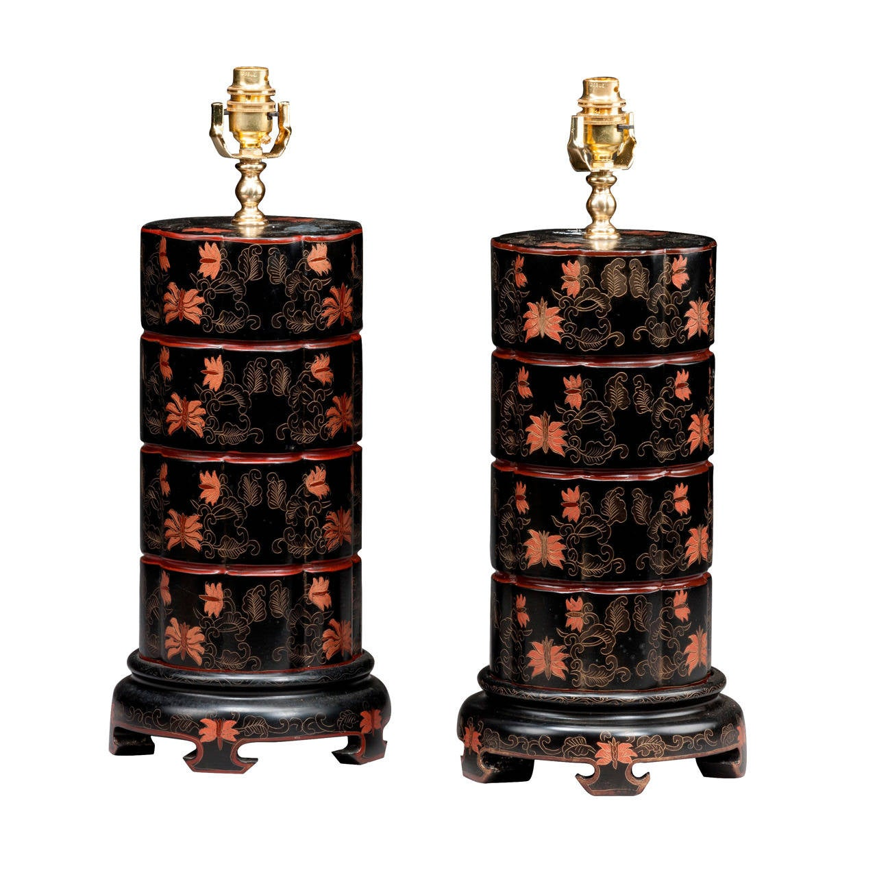 Unusual Pair of late 20th century Stepped Lamps