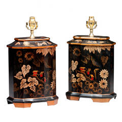 Pair of 20th century Ebonized 12-Sided Pottery Lamps