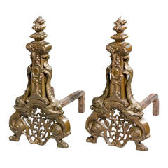 Large Pair of Cast Iron Andirons