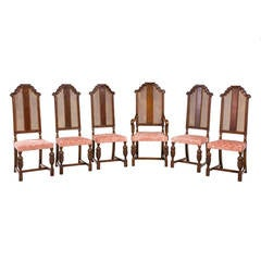 Set of Five Side and One Armchair Oak and Mahogany High Back Chairs