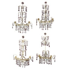 Four 19th Century Cut Glass and Gilt Bronze Wall Lights
