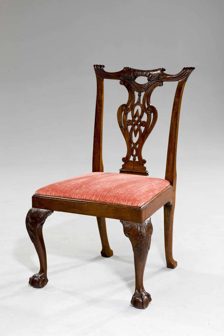 George II Set of Eight Chippendale Period Dining Chairs For Sale