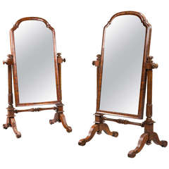 Pair of Mid-19th Century Children's Cheval Mirrors