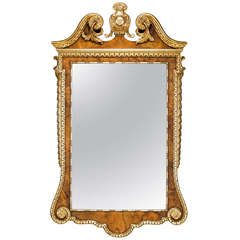 George II Style Walnut and Silvered Mirror