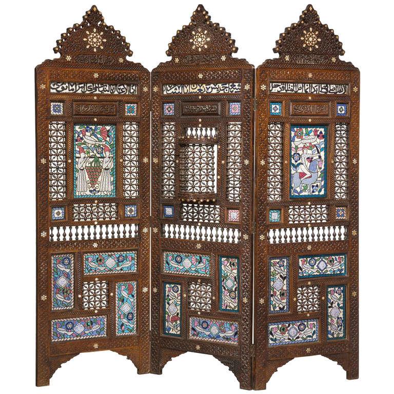 19th Century Middle Eastern Three-Fold Screen