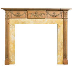 George III Period 18th Century Pine and Gesso Fire Surround