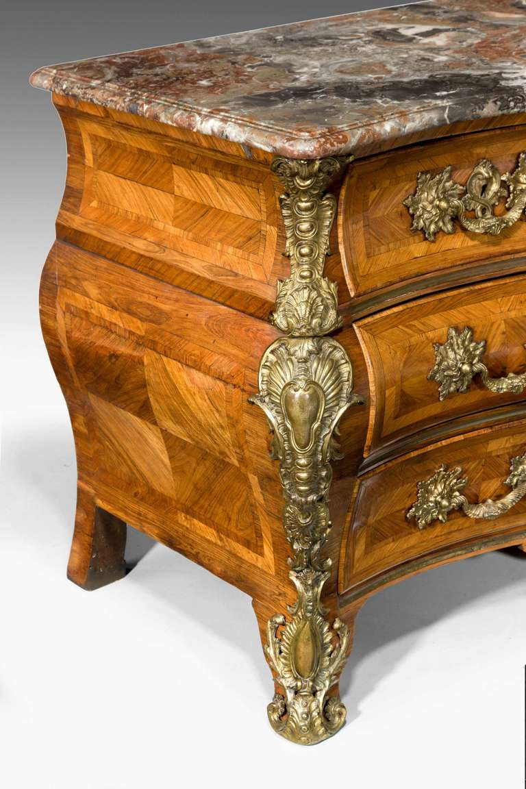 French Louis XV Bombe Kingwood Commode with a Breche-Violette Marble Top