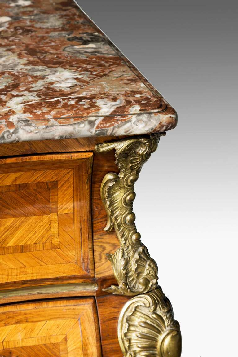 18th Century and Earlier Louis XV Bombe Kingwood Commode with a Breche-Violette Marble Top