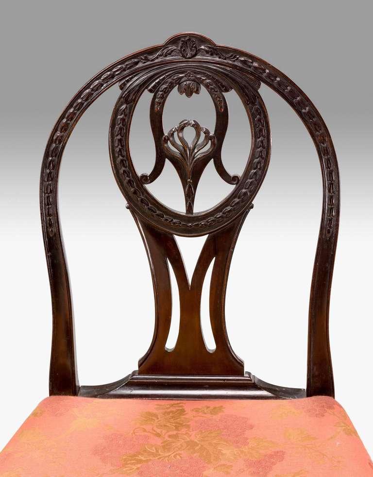 British Pair of George III Irish Mahogany Chairs For Sale