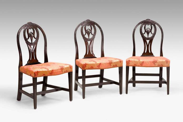 18th Century and Earlier Pair of George III Irish Mahogany Chairs For Sale
