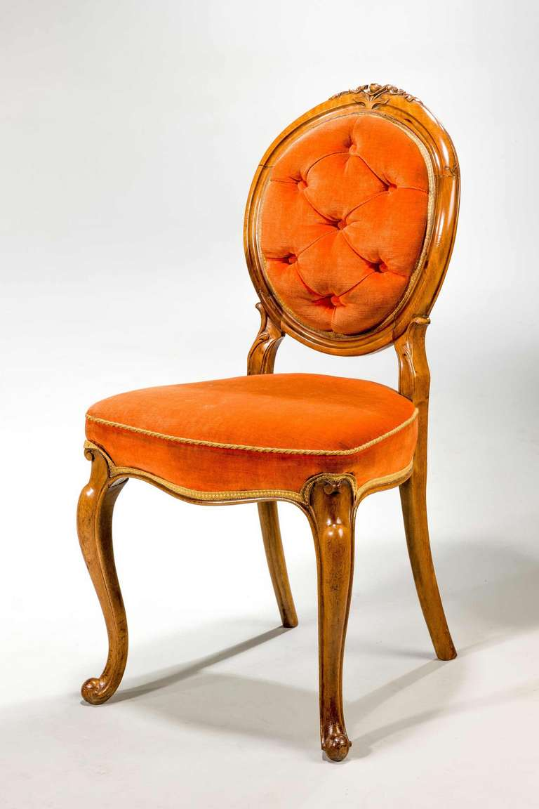 British Set of Six 19th Century Satin Birch Dining Chairs For Sale