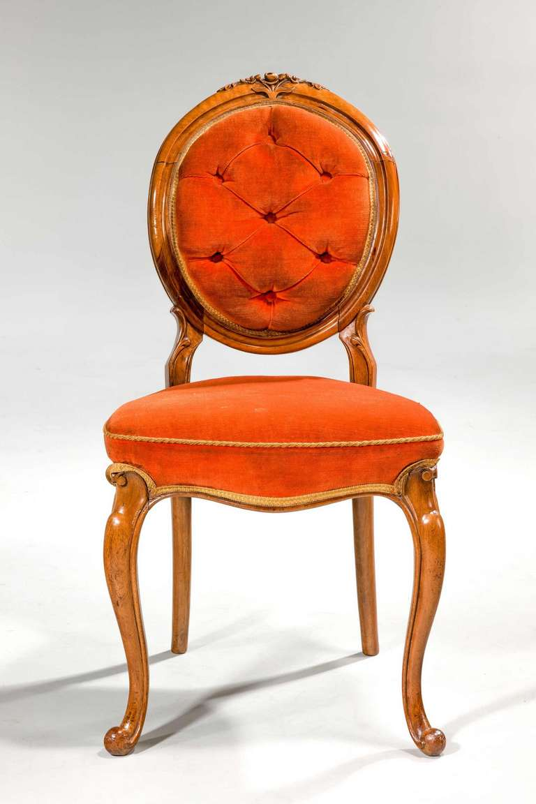 Set of Six 19th Century Satin Birch Dining Chairs For Sale 1