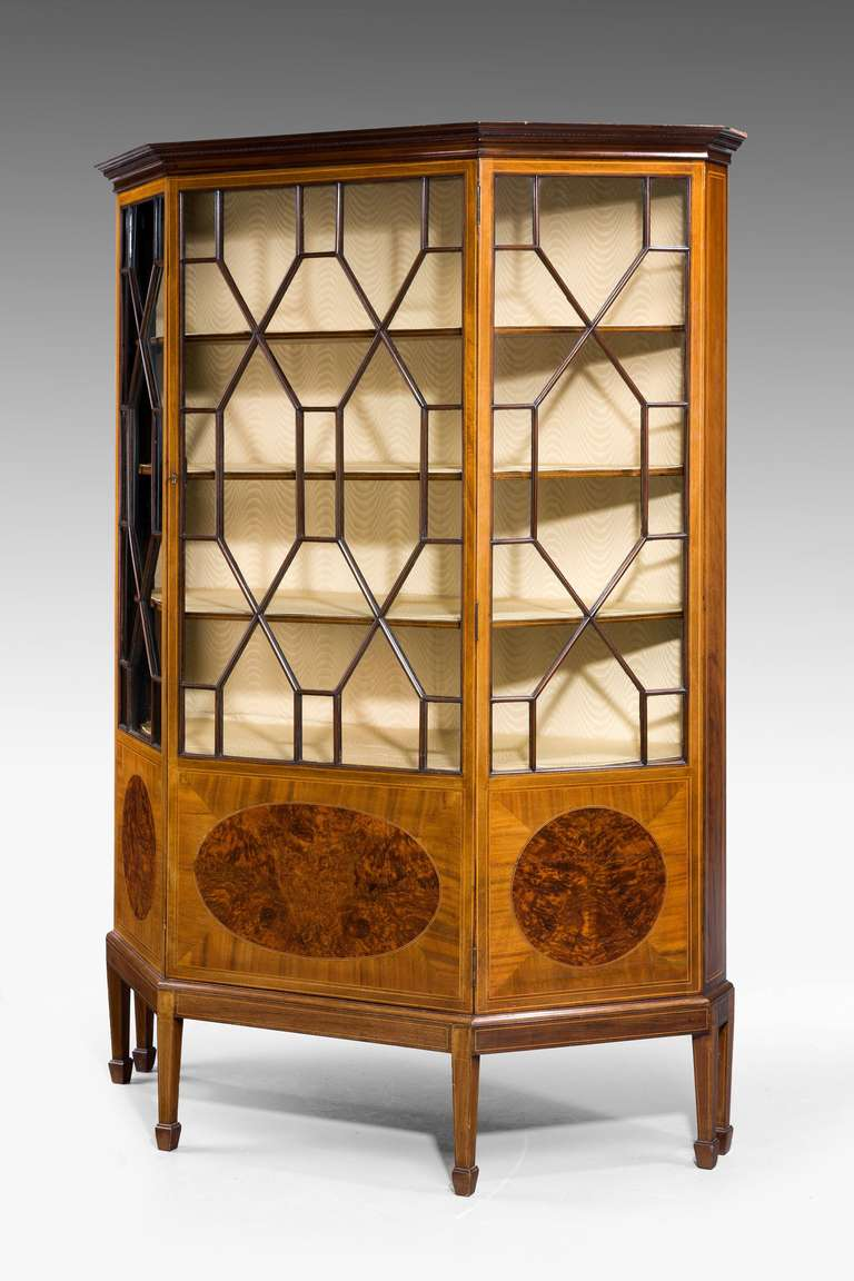 British Edwardian Period Mahogany Display Cabinet For Sale
