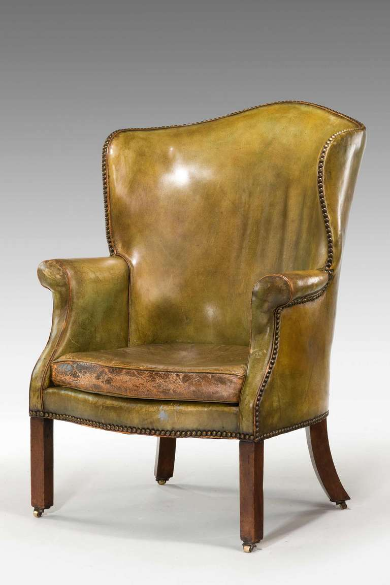 Strange George Iii Period Wing Chair In Green Leather Camellatalisay Diy Chair Ideas Camellatalisaycom